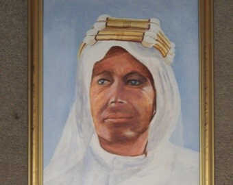 "Original Framed Oil painting of Peter O Toole as Lawrence of Arabia  32 cm x 40 cm (12"" x 15"")"