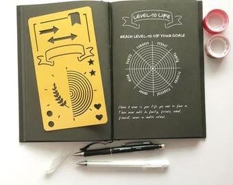 Planner Stencil, Bullet Journal Stencil, bullet journal accessories, pochoir bullet journal, Level 10 Life Stencil (Level 10 Gold)