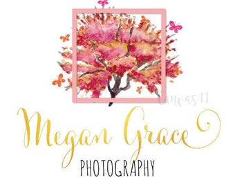 Premade Logo Spring Flowers Leaves Pink Gold Bold Clothing Accessories Handmade Branding Business Logo Shop Banner Business Card PL068