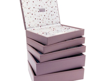 Stackers Set of 5 Pink Spot Medium Stacker Jewellery Trays LCSET5PINKSPOT