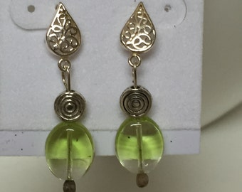Sterling and Green Glass dangle earrings