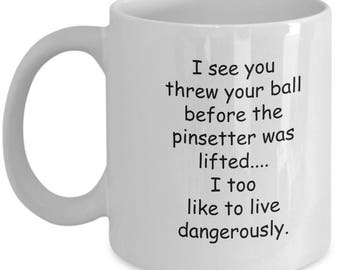 Funny bowling pinsetter lead free coffee mug