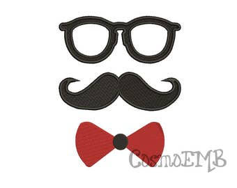 8 Size Bow tie , Glasses & Moustache Embroidery design Machine Embroidery - Digital INSTANT DOWNLOAD