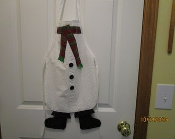 Holiday children's apron.  A Snowman apron with boots!