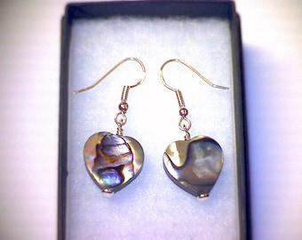 Sterling Silver Earrings, Hookwire Drop, Dangle. Abalone Hearts.