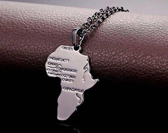 Africa Necklace, Silver Africa Necklace, Motherland Necklace, Silver Motherland Necklace, Mother Africa Necklace,