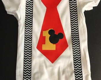 Mickey Mouse Tie & Suspenders Onesie