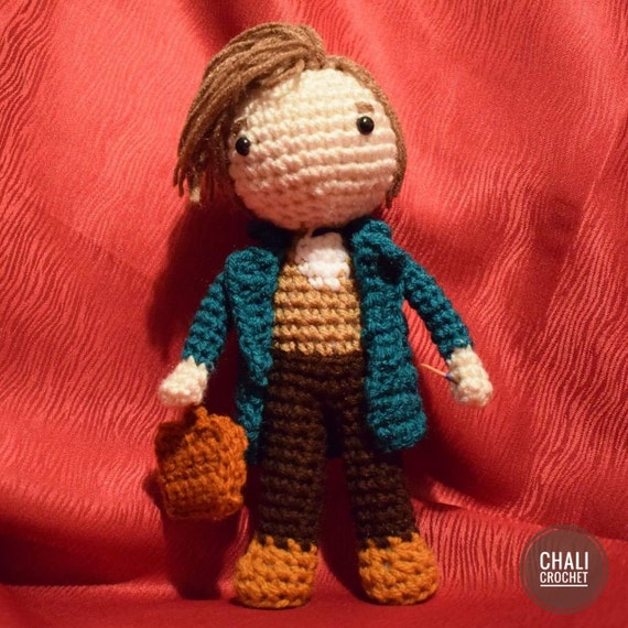 Handmade Crochet Newt Scamander from Fantastic Beasts and where to find them. Harry Potter.