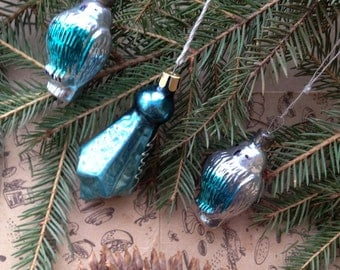 Christmas ornaments set of 3. Two owls and Christmas Star in set. Christmas gift