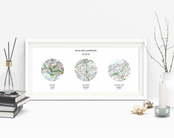 Personalised 3 Map Location Print