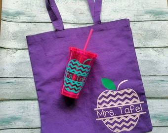 Personalized Teacher Gift / Tote bag and Tumbler Combo/ Teacher Gift / Teacher Appreciation / Teacher Gift / End of the Year gift /