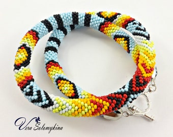 Ethnic bead crochet rope necklace, Native style, African mens necklace, beadwork jewelry, Seed beads necklace, Peyote choker, Ethnic choker