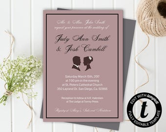 wedding invitation, wedding invitation template,wedding template, formal invitation, editable, 5x7 template, pink, mauve, silhouette