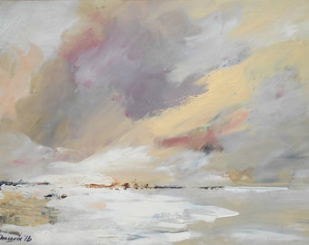 Winter seascape, Original oil painting, Winter sea impression home decor, Family gift, Modern art