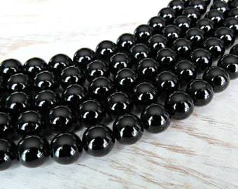 Black Tourmaline, 8mm tourmaline, full strand, AA quality, 8mm Tourmaline beads, 8mm black beads, black tourmaline 8mm,  tourmaline beads