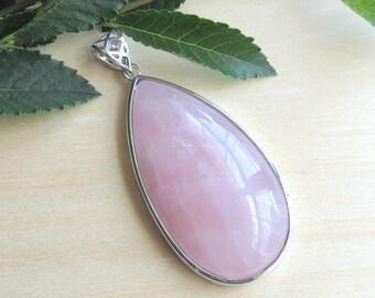 Rose quartz pendant, Large Teardrop, rose quartz gemstone, natural rose quartz, quartz pendant, pink pendant, mala pendant, mala supplies
