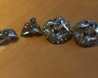 Vintage set of two Clear Rhinestone clip on earrings, one unsigned, one Weiss