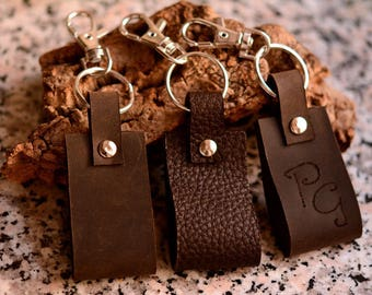 Leather key ring with carabiner, with ability to customize with initials or symbols