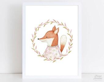 Nursery Fox Wall Art / INSTANT DOWNLOAD / Nursery / Printable Fox Baby / Wall Art / Fox / Girl / Printable / 8x10 / Fox Wall Art Print /Baby