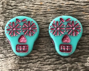 Czech Glass Sugar Skull Beads, Opaque Turquoise with Fuchsia Wash, 20X17mm, 2 Qty.