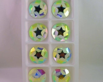 AB Large frosted star sew on glass crystals 25mm
