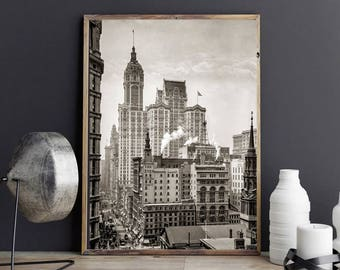 New York City Photo, Singer Building, Black White Photography Print, Wall Art, Poster Art, 1910, NYC Art