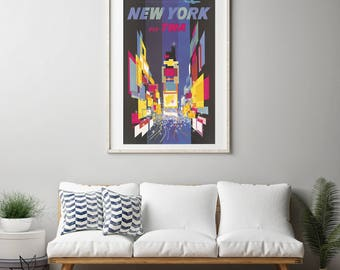 Vintage TWA New York Travel Poster, Mid Century Art, Antique Travel Art Print, Illustrated Print, Repro Lithographic Mid-Century Decor