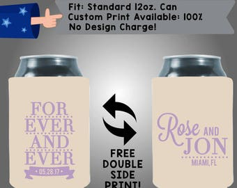 Forever And Ever Collapsible Fabric Wedding Can Coolers, Cheap Can Coolers,  Wedding Favors (W258)