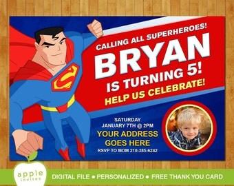 Superman Invitation, Superman Party, Superman Birthday, Superman, Superman Printable, FREE Thank You Card!