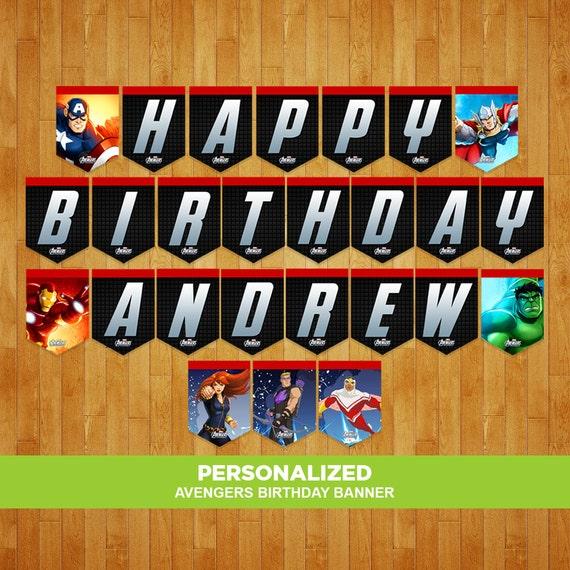Avengers Birthday Banner Avengers Banner Avengers Birthday
