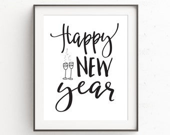 Happy New Year Printable, New Years Eve Decor, Monochrome Wall Art, New Years Eve Prints, Instant Download, Modern Digital Art