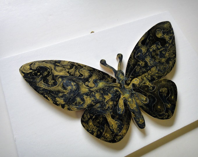 Puzzle Butterfly - black & gold, stylish wooden hand-cut, acrylic on wood pieces, ready to hang, Puzzle-Art by Samo Svete