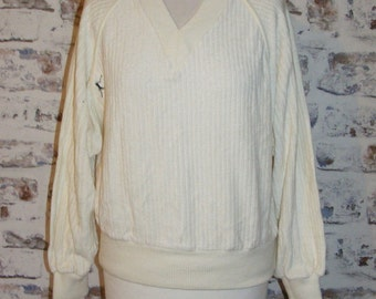 Size 12 vintage 80s batwing long sleeve v neck sweatshirt cream towelling (GR08)