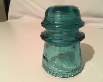 Hemingray No 16 Teal Blue Glass Insulator