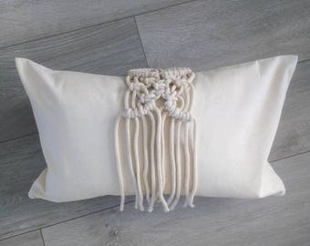 Rectangular Macrame Cushion Cover, Cream Cushion Cover, Decorative Pillow Covers, Housewarming Gift, Cream Pillow Cover, Moving Away Gift
