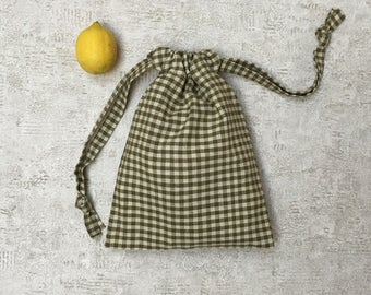 kit 2 smallbags en Vichy à carreaux kaki et beige - 2 tailles - sacs coton réutilisables - sac à vrac - zero dechet