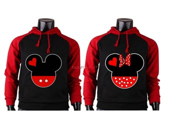 Mickey and Minnie Couple Hoodies Mickey Minnie Sweatshirts Couple Raglan Hoodies Pärchen pullover Couple Matching Hoodies Mickey Hoodies
