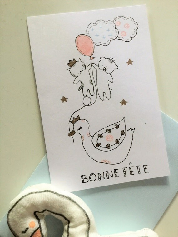 "Folded card ""Choumi et Michou : bonne fête"""