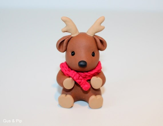 Cute little Christmas Reindeer Ornament/ Sculpture/ Cake Topper