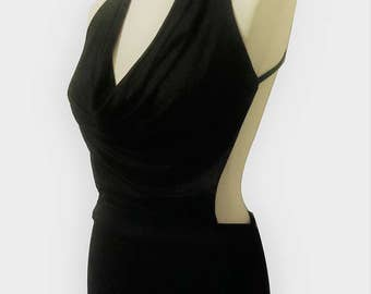 Evening/clubwear dress sexy black font/drape to backless neck chain silver