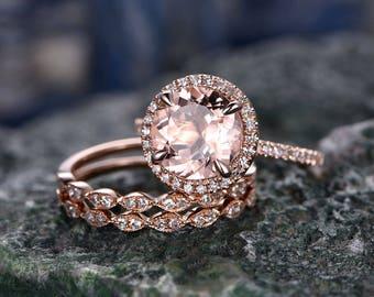 Morganite engagement ring set-handmade Solid 14k Rose gold ring-Real Diamond band-9mm Round cut gemstone promise ring-3pcs Bridal Ring set