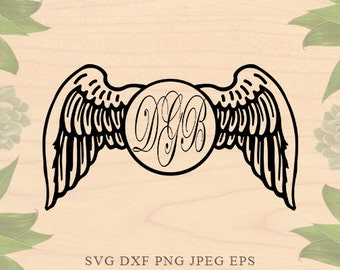 Wings monogram svg Valentine Svg files Valentine monogram SVG Wings svg Cut Files Dxf Eps Cricut files for Silhouette files Cricut Downloads