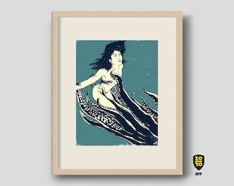 Mermaid Lovecraft Kraken Eerie Deep illustration by Alexander Fechner