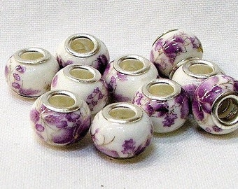 Large hole porcelain beads in white with purple flowers, set of 10. #11