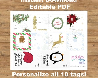 Printable Christmas Gift Tags Digital Instant Editable PDF Xmas Present Tags Personalized Customized Holiday Gift Tags Christmas Card Santa
