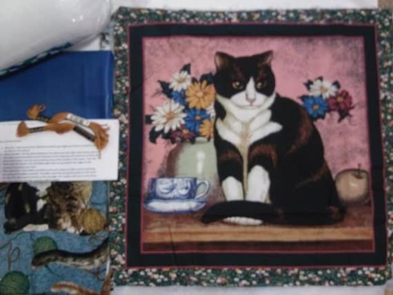 Black and White Cat - Pillow Quilt Kit 115
