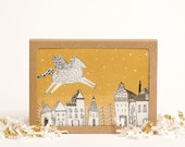 Pegasus Flying Over City Illustrated Card Set - Set of 6 Cards Blank Inside - Greeting Card Set, A6 Cards with Envelopes