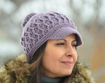 Newsboy hat women, crochet newsboy cap, purple hat women, winter hat women, crochet newsboy hat, brimmed beanie pom pom,  gift for women