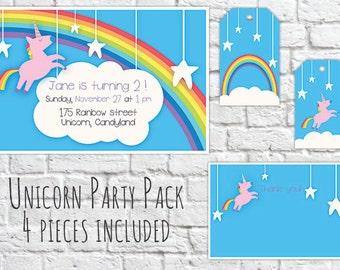 "Personalized Diy ""Rainbow Unicorn"" Birthday Digital Printable Party Package"