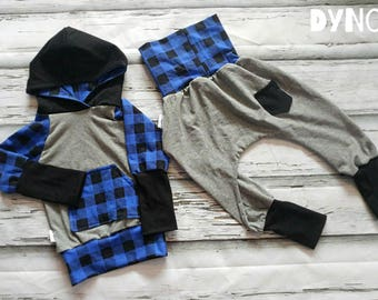 Hoodies scalable 9-36months blue tile royal + gray jogging Hunter style harem Pants 2 - 5t